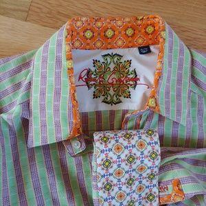 Robert Graham Green stroped shirt.